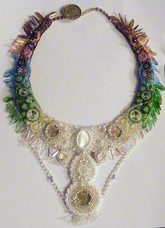 Bead Embroidered Collar  Epona Moon Goddess Protector by lindmel, £240.00