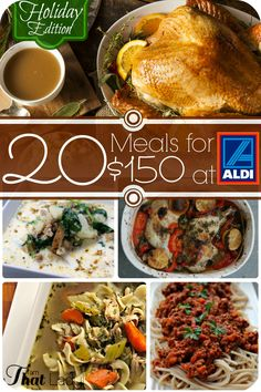 I am thrilled to share this entire meal plan and shopping list so you can buy and make 20 meals for under $150 at Aldi *including a Thanksgiving feast*! Keep in mind that prices vary per store, so yours may be a little higher or lower depending on the item. Also, this meal plan is based on a family of four; however