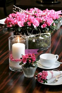 Azaleas in tablescapes