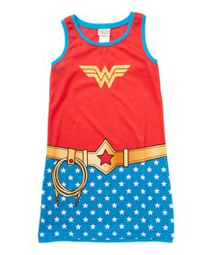 Red & Blue Wonder Woman Nightgown - Girls | zulily