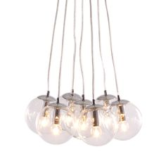 Let the warmth of glowing orbs fill your room with light. The Winter Ceiling Lamp has seven glass balls fixed to a chrome base. Bulbs not included. Bulbs sold seperately, Max Watt 25 W, Size E12, Type G45. UL approved and listed.