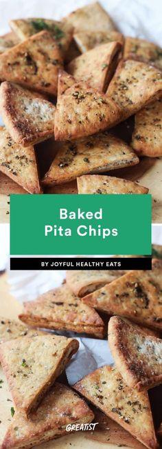 snack prep: Baked Pita Chips