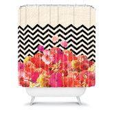 Found it at Wayfair - Bianca Chevron Flora 2 Polyester Shower Curtain - DENY Designs
