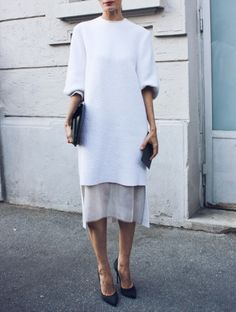 Long white minimalist dress