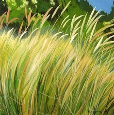 Daily Painters Abstract Gallery: 'Beach Grass #2' Acrylic Canvas Oregon Beach Grass Painting by Melody Cleary, Oregon Artist