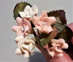 FF-129 $1.25 Pink and Cream Polymer Clay Roses