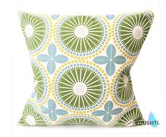 LARGE Green Pillow Cover Retro Pillow Mid Century Modern