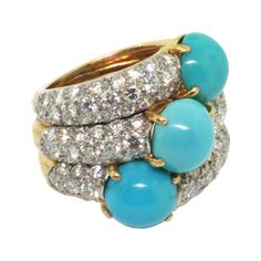 Gold, turquoise and diamonds - Circa 1950 - Signed Cartier