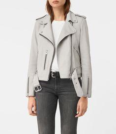 Womens Balfern Leather Biker Jacket (Light Grey) - product_image_alt_text_1