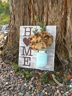 Mason Jar Wood Wall Hanging Home Sign Home Decor by DodsonDecor