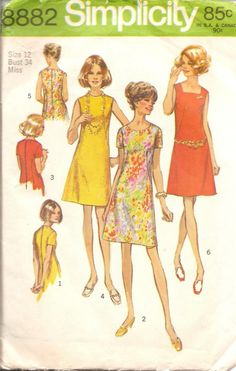 Misses Dress with three Neclines Vintage Sewing by TenderLane, $6.00