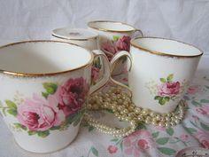 4 American Beauty Pink Roses Vintage Royal Albert  by GingerNIrie