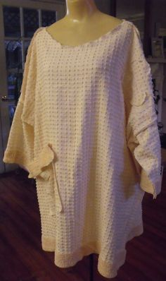 Plus Size Tunic/Vintage Bedspread Chenille/Pale by SheerFab