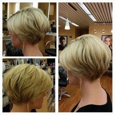 """Great transition from front of hair to back. Requires more hair than I have. [ Pretty Hairstyles for Thin Hair Pro-Tips for a Perfectly Volumised Style - PoPular Haircuts"""", """"Simple daily hairstyle for short hair How lucky to have such lovely thick hai Daily Hairstyles, Short Hairstyles For Women, Pretty Hairstyles, Short Haircuts, Thin Hairstyles, Haircut Short, Layered Haircuts, Blonde Haircuts, Short Wedge Hairstyles"""
