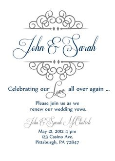 Vow renewal invite ( great idea for later)