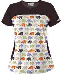 Style # UA678TAK: UA Tag Along Khaki Print Scrub Top