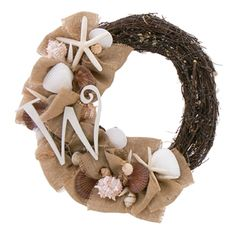 "Burlap Shores 20"" Seashell & Dried Floral Alternate Wreath"