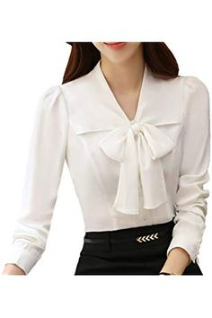 Shop the latest collection of JHVYF Womens Bow Tie Neck Blouse Long Sleeve Casual Work Office Tops Button Down Shirts from the most popular stores - all in one place. Tie Neck Blouse, Long Blouse, Casual Tops For Women, Blouses For Women, Modest Casual Outfits, Women Bow Tie, Bodysuit Shirt, Work Casual, Clothes