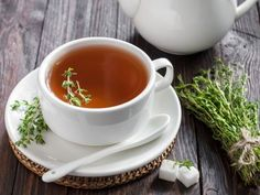 REMEDIES FOR CHEST CONGESTION Here's a quick and simple thyme tea recipe to try. Thyme helps with congestion, chest colds, mucus, and has been used for bronchitis and other illnesses. Chest Congestion Remedies, Cough Remedies, Herbal Remedies, Home Remedies, Natural Remedies, Thyme Tea, Psyllium, Troubles Digestifs, Remedies For Menstrual Cramps