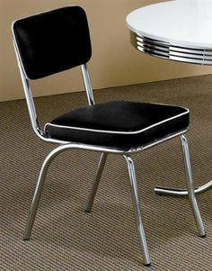 Set of 2 Retro Chrome Dining Chairs - Black by Coaster Home Furnishings. $103.08. Some assembly may be required. Please see product details.. 50 Soda Fountain Chair - BLACK CUSHION (Sold As a Pair) - Coaster 2066 PNo: 2066