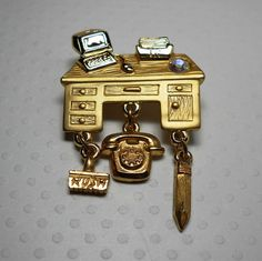 Vintage Desk Brooch by Torino by WeBos on Etsy, $24.00