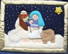 Pesebres en patchwork sin aguja moldes - Imagui Mod Podge On Wood, Cathedral Windows, Silent Night, Sewing Toys, Felt Toys, Stuffed Toys Patterns, Plush, Teddy Bear, Kids Rugs