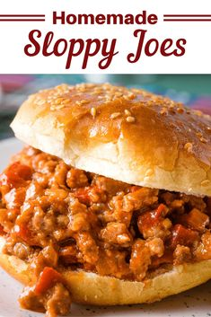 Throw out the canned stuff and give these Homemade Sloppy Joes a try! It's a quick and easy dinner that the whole family will enjoy. Homemade Sloppy Joe Mix, Best Sloppy Joe Recipe, Sloppy Joes Recipe, Classic Sloppy Joe Recipe, Slow Cooker Sloppy Joes, Vegan Sloppy Joes, Easy Sloppy Joes, Beef Recipes, Cooking Recipes