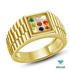 14K Gold Plated 925 Silver Round Gemstone Traditional Shank Men's Navratna Ring #Affoin8 #NavgrahNavratnaRing #DailyWear