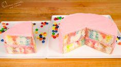 Skittles Poke Cake with Skittles Buttercream