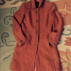 Coach tweed coat Beautiful coach tweed coat leather piping around collar and pocket, silk lining worn few times Coach Jackets & Coats Pea Coats