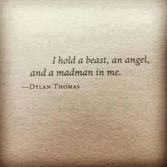 I hold a beast, an angel and a madman in me.