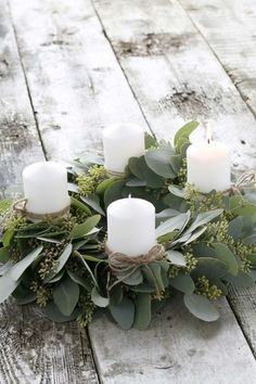Beautiful eucalyptus candle wreath for a holiday table centerpiece.