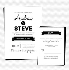 Modern Text-based Wedding Invitation and RSVP Set. For customizations: printableinvitationkits[at]gmail[dot]com