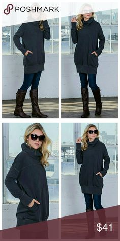 Black Cowl Neck Over-Size Sweater/Sweatshirt Super-soft black over size sweater/outerwear top with pockets and drop shoulders. Long sleeves, slips over head. The XL is labeled 1XL, see measurements below for fit. EVIEcarche Tops