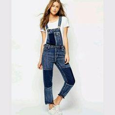 GRMO Women Fashion Roll Up Slim Ripped Destroyed Girls-Bib with Pockets Denim Overalls