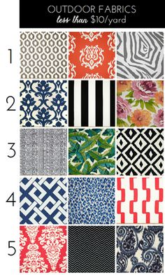 Outdoor Fabrics for Under $10/Yard                                                                                                                                                                                 More