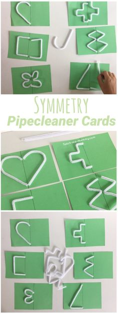 Symmetry cards, made with pipe cleaners Great shape learning for preschool and kindergarten. Preschool Math, Math Classroom, Kindergarten Math, Teaching Math, Fun Math Games, Preschool Activities, Symmetry Activities, Symmetry Worksheets, Gifted Education
