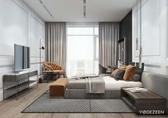 Versatile interior of a spacious residence in Kiev on Behance Master Bedroom Design, Home Bedroom, Modern Bedroom, Bedroom Decor, Modern Home Interior Design, Classic Interior, Luxury Interior, Ideas Habitaciones, Hotel Room Design