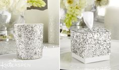 Shine up your wedding reception tables with glitter favor boxes filled with candies or other goodies for your guests to keep. Set a romantic ambience with glitter votives for a soft, glowing flicker. | Silver Glitter Votive | Silver Glitter Favor Box | Kate Aspen | kateaspen.com
