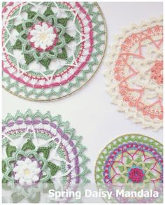 Ravelry: Spring Daisy Mandala pattern by Lesley Bousbaine Crochet Mandala Pattern, Crochet Stitches Patterns, Crochet Doilies, Crochet Flowers, Crochet Home, Love Crochet, Thread Crochet, Crochet Blocks, Crochet Squares