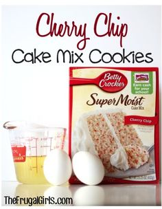 Cherry Chip Cake Mix Cookies Recipe! ~ from TheFrugalGirls.com ~ these tasty little cookies take only 3 ingredients!! #cookie #recipes