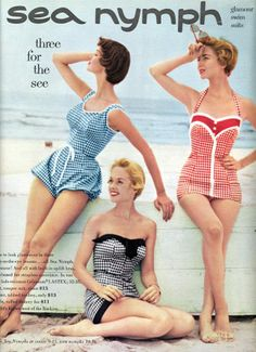i love vintage suits. theyre adorable! oh how much swimwear has changed./: i love vintage suits. theyre adorable! oh how much swimwear has changed. Vintage Bathing Suits, Vintage Swimsuits, 1950s Bathing Suit, Modest Swimsuits, Moda Vintage, Vintage Mode, Moda Pin Up, 1950s Fashion, Vintage Fashion