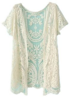 This cardigan is so pretty! I love the lace look. White Short Sleeve Crochet Net Lace Cardigan
