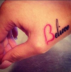 believe tattoo....I like this placement with the word BLESSED