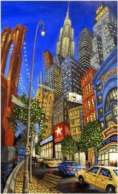 The art of whimsical paintings by Miguel Freitas New York Painting, City Painting, Graffiti Kunst, Art Carte, New York Art, Sedona Arizona, Wow Art, Naive Art, Art Graphique
