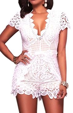 c9a4394a6146 RlmaBaby Clubwear Party Fringe Lace White Rompers Women Jumpsuit V Neck  Hollow Out Femme Overalls Playsuit Short Jumpsuit