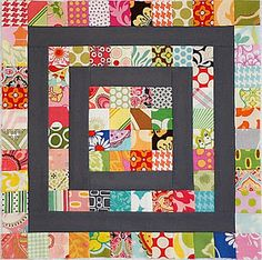 """Little Miss Shabby has a bunch of stashbuster quilts. Some can be quite dramatic as with this one with a dark """"neutral"""" instead of the ubiquitous white in most modern quilts."""
