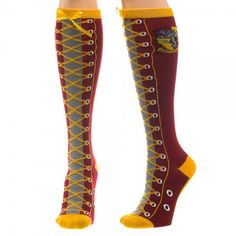 Harry Potter Gryffindor Faux Lace Up Knee High Socks New Licensed