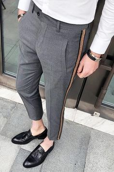 Side Tape Pant Mens Dress Pants - Men's style, accessories, mens fashion trends 2020 Indian Men Fashion, Mens Fashion Suits, Fashion Pants, Mens Suits, Fashion Hoodies, Men's Fashion, Mens Dress Pants, Men Dress, Dress Shoes