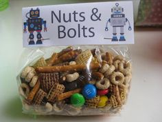 fuzz food: nuts & bolts mix with free printable bag topper (perfect for robot party)!